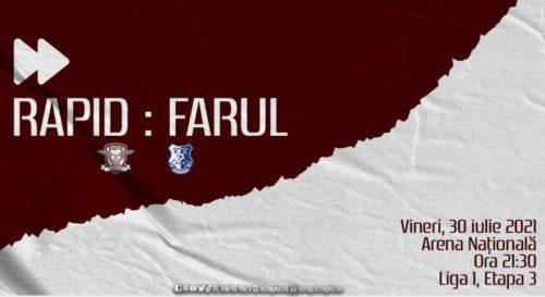 Ponturi Rapid vs Farul Constanta fotbal 30 iulie 2021 Liga 1