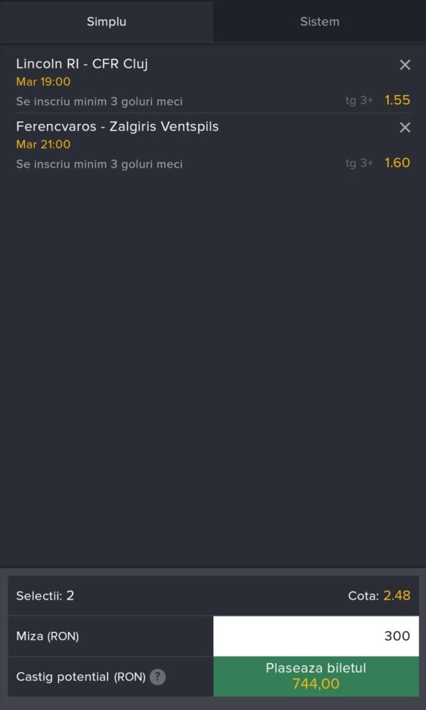 Biletul zilei fotbal ERC – Marti 20 Iulie 2021 – Cota 2.48 – Castig potential 744 RON