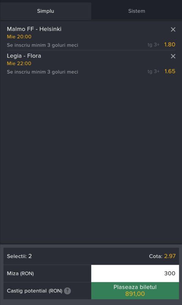 Biletul zilei fotbal ERC – Miercuri 21 Iulie 2021 – Cota 2.97 – Castig potential 891 RON