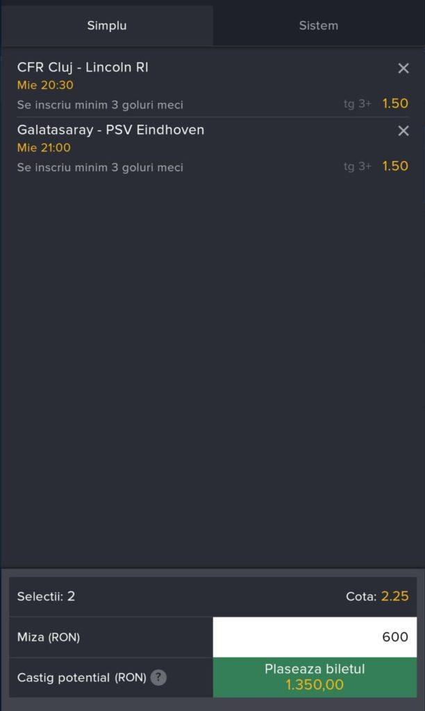 Biletul zilei fotbal ERC – Miercuri 28 Iulie 2021 – Cota 2.25 – Castig potential 1350 RON