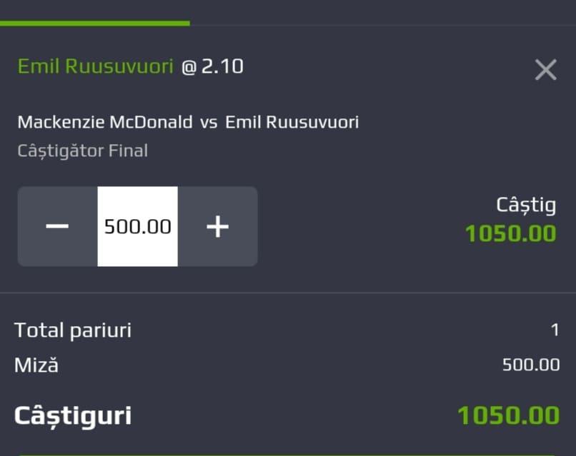 Cota tenis ERC – Marti 27 Iulie 2021 – Cota 2.10 – Castig potential 1050 RON