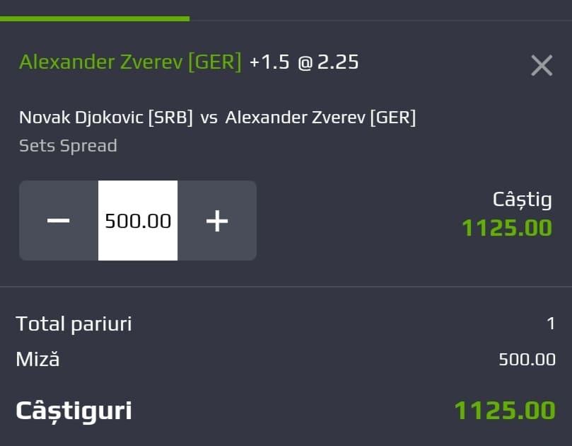 Cota tenis ERC – Vineri 30 Iulie 2021 – Cota 2.25 – Castig potential 1125 RON
