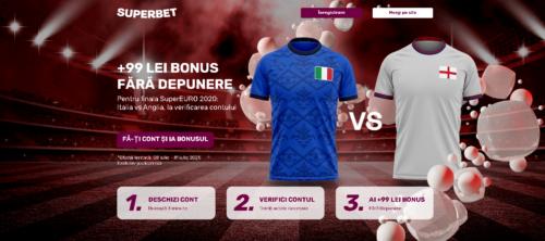 Super oferta de la SUPERBET pentru finala EURO2020: 99 RON FARA DEPUNERE la verificarea contului!