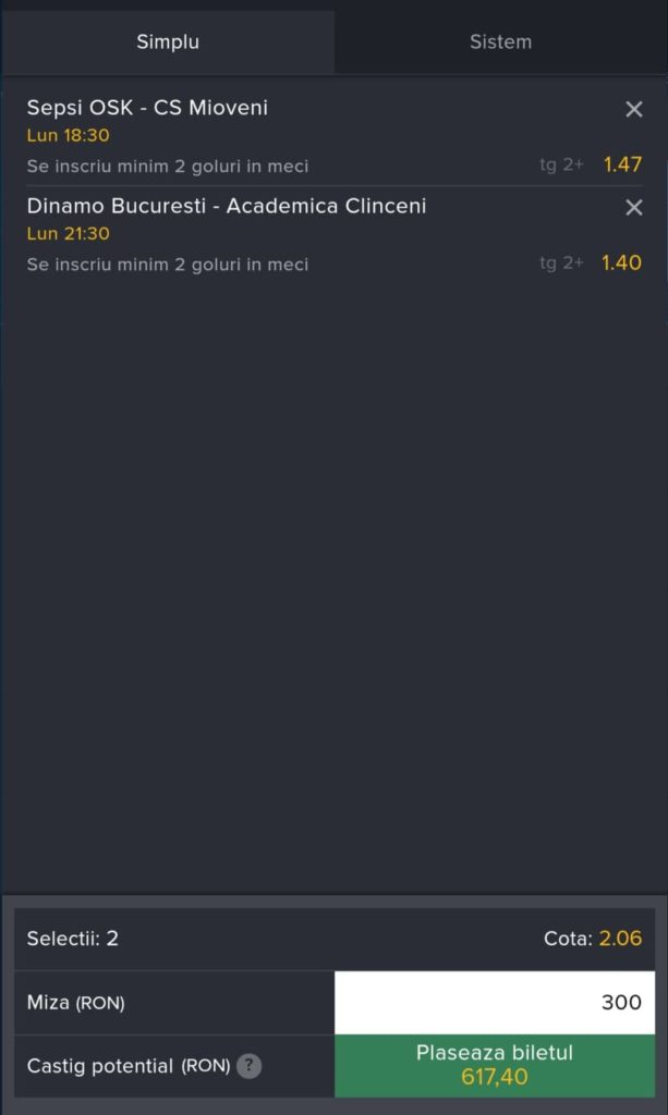 Biletul zilei fotbal ERC – Luni 02 August 2021 – Cota 2.06 – Castig potential 617 RON