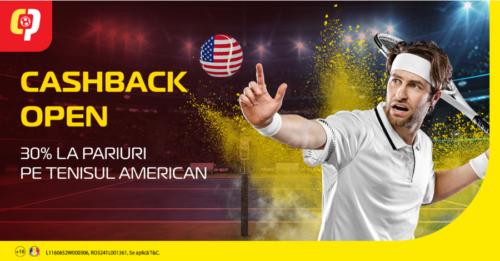 30% Bonus cashback de la Casa Pariurilor pe toata perioada US Open!