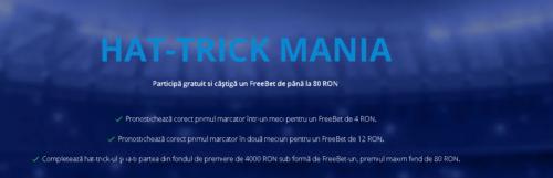 Participa la HAT-TRICK MANIA. Castiga o parte din cei 4.000 RON oferiti de SPORTINGBET!