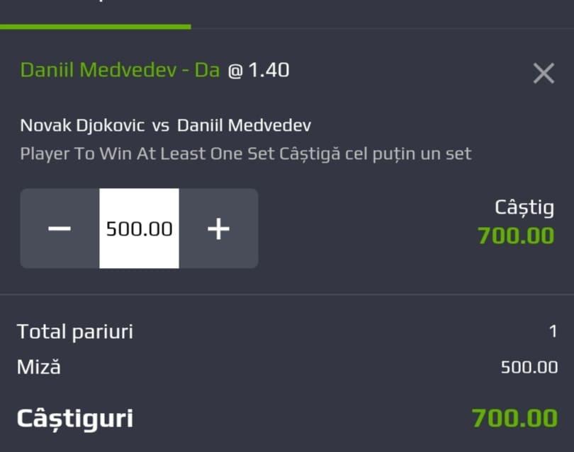 Cota zilei tenis ERC – Duminica 12 Septembrie 2021 – Cota 1.40 – Castig potential 700 RON