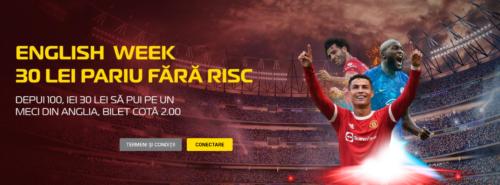 ENGLISH WEEK la CASA PARIURILOR! 30 RON FREE-BET!