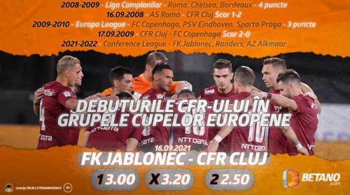 """Debut pentru CFR Cluj în noua Conference League! Ce spun cotele Betano despre șansele """"feroviarilor"""""""