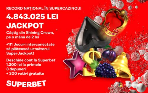 Nou record national in SUPERCAZINOU! Jackpot de aproape 1 milion de EURO castigat in aceasta saptamana la SUPERBET!