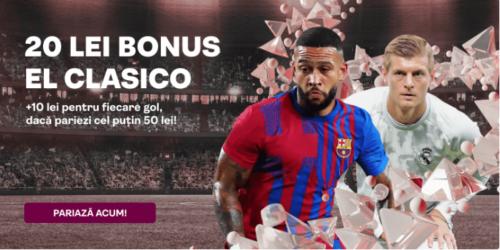 Pariaza pe El Clasico la SUPERBET: 20 RON BONUS + 10 RON BONUS pentru fiecare gol marcat!